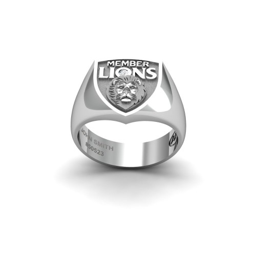 Brisbane Lions - 9K White Gold & Diamond Members Ring
