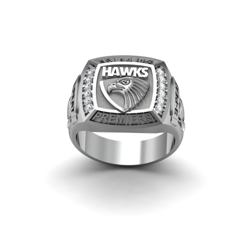 Hawthorn Hawks - 9K White Gold & Diamond 3-PEAT Premiers Ring