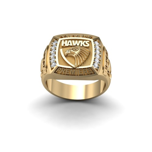 Hawthorn Hawks - 9K Yellow Gold & Diamond 3-PEAT Premiers Ring