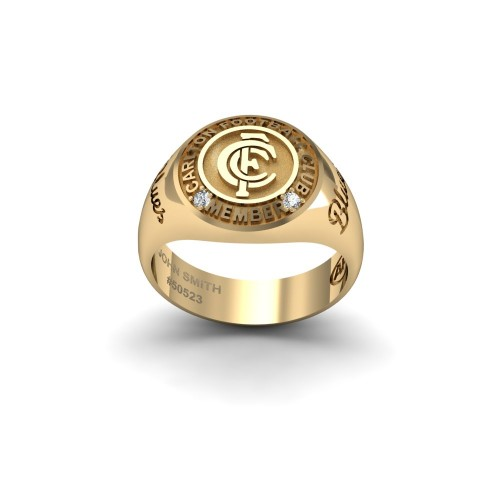 Carlton Blues - 9K Yellow Gold & Diamond Members Ring