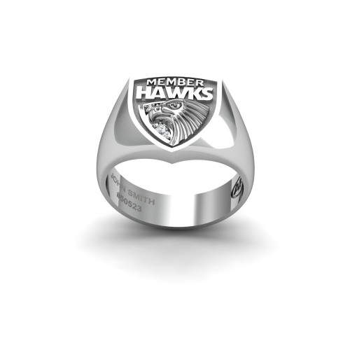 Hawthorn Hawks - Sterling Silver & Diamond Members Ring