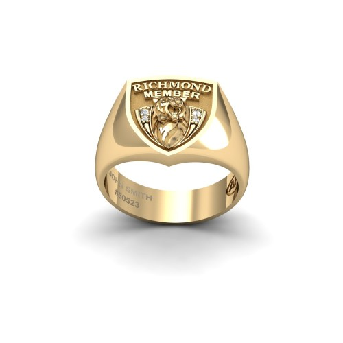 Richmond Tigers - 9K Yellow Gold & Diamond Members Ring