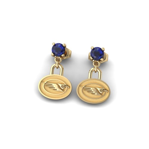West Coast Eagles - 9K Yellow Gold Team Earrings