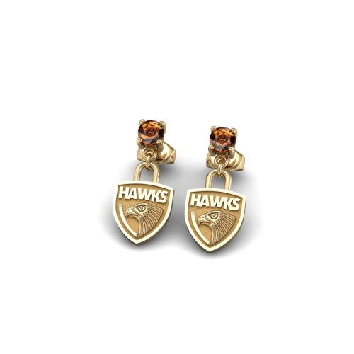 Hawthorn Hawks - 9K Yellow Gold Team Earrings