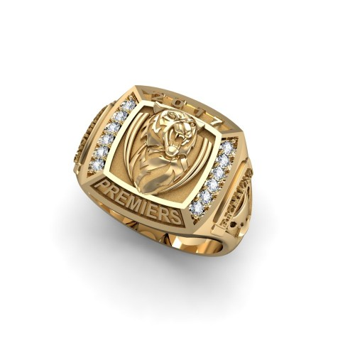 2017 Richmond Tigers 9K Yellow Gold & Diamond AFL Premiership Ring